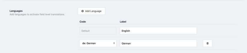default language label