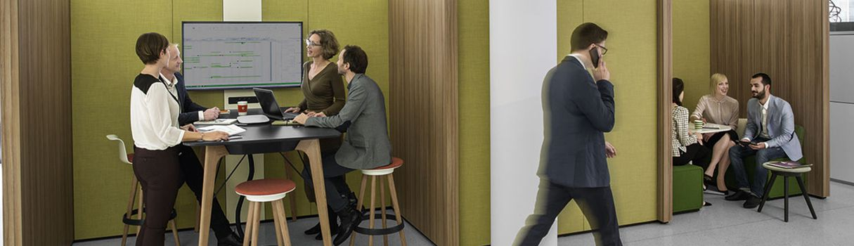 NOOXS: The new wall system by Bene creates functional niches for cooperation. © BENE
