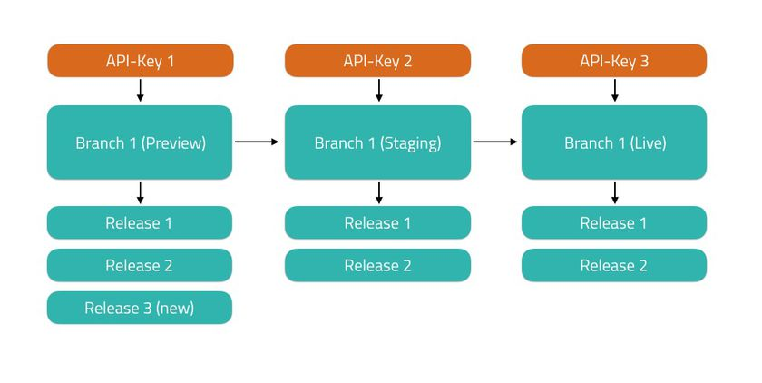 Branching model headless CMS