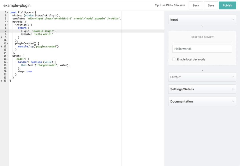 Example Plugin view