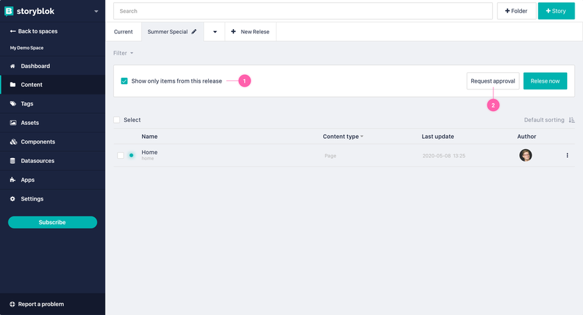 Showing the content area with the header of release and the button Request Approval