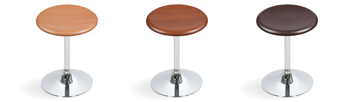 The stool – to match the tabletops, in exiting combinations. © Topalit
